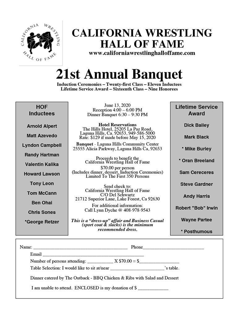 California Wrestling Hall of Fame Flyer 2020